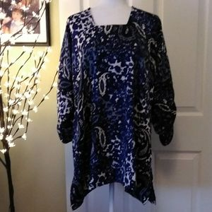 Square neck cotton tunic with drawstring sleeves